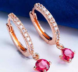 Fashion Cute CZ Crystal 18k Rose Gold Plated Filled Cute Hoops Classic Earring