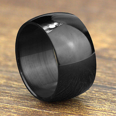 USA 12mm Black Titanium Stainless Steel Ring Men Ring His Graduation Ring Band