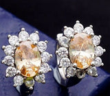 Fashion CZ Crystal 18k Rose Gold Plated Classic Crystal shiny Hoop Earrings