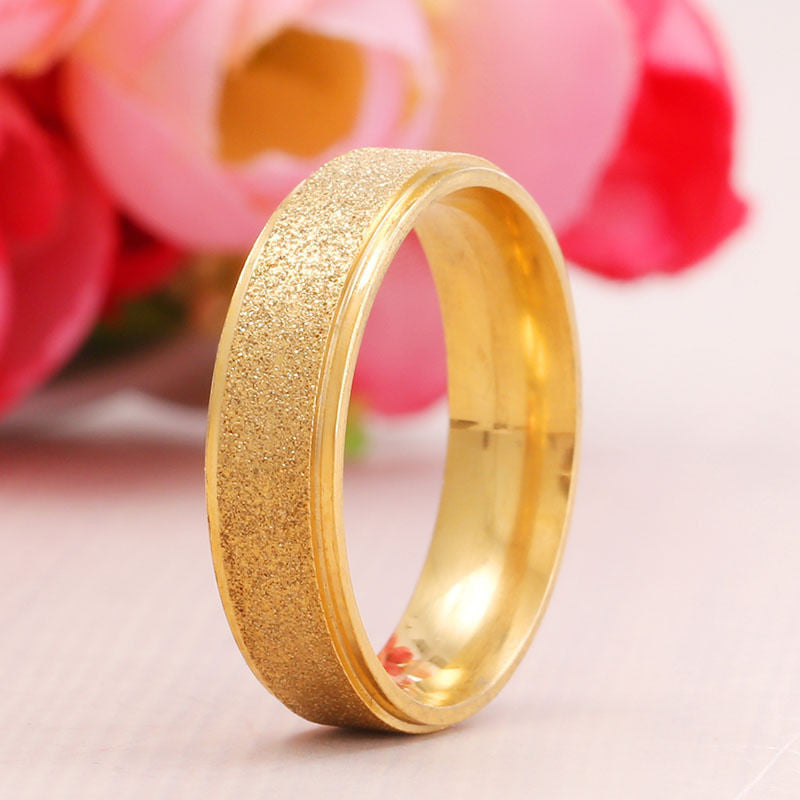 USA 6MM Women Pomellato Promise Gold Stainless Steel Band Frosted Ring Size 7-10