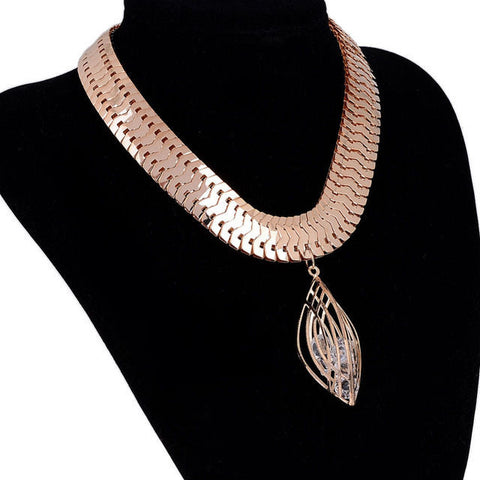Gold Color Crystal Chunky Statement Bib Pendant Chain Choker Necklace