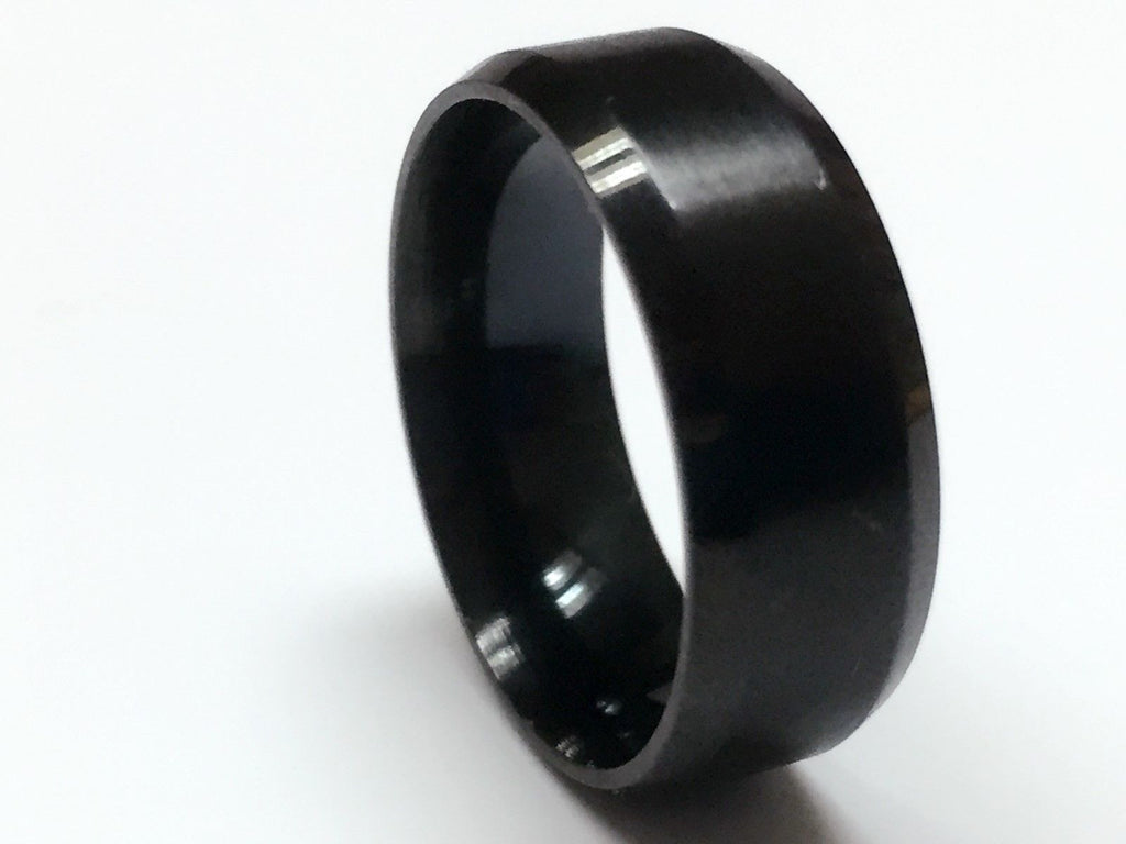 USA 8MM Men Polished Black Tungsten Carbide Beveled Edge Ring Band
