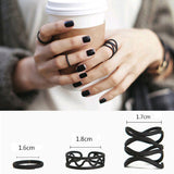 USA 3Pcs Set Womens Stack Plain Above Knuckle Ring Black Midi Finger Tip Rings