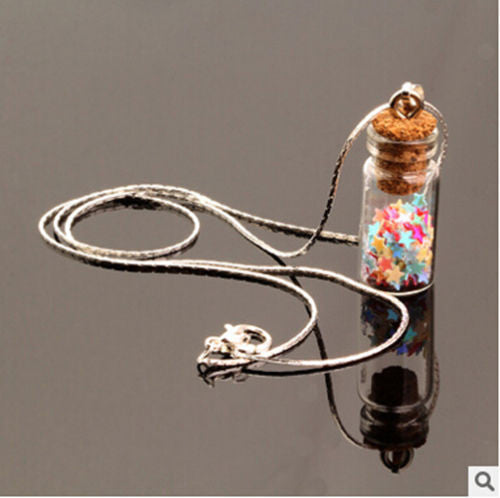 Mix Color Sand Wishing Star Bottle Glass Popular Silver Chain Pendant Necklace