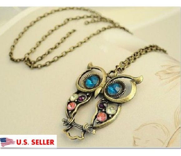 USA Women Vintage Colorful Rhinestone OWL Pendant Bronze Long Chain Necklace
