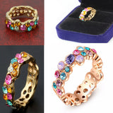 Woman 18K Gold Plated Colorful Austrian Crystal Wedding Ring Band Jewelry size 5