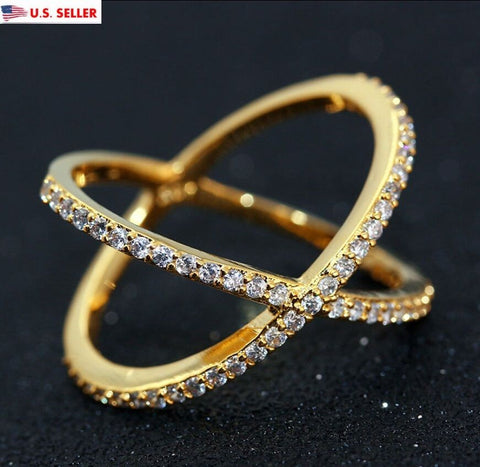 18K Gold Plated Women Men Austrian Crystal Criss Cross X Jewelry Ring Wedding
