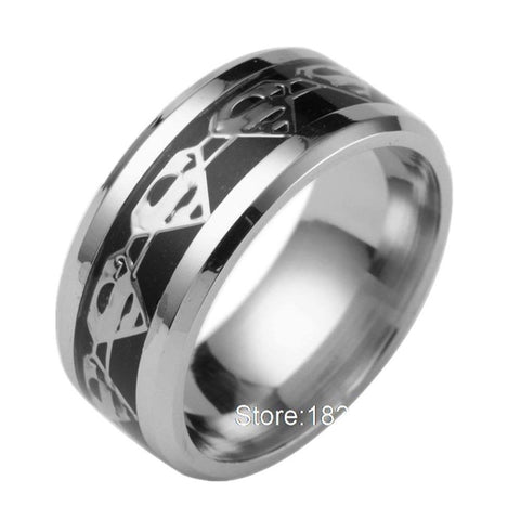 8mm Black Superman Symbol Men His Titanium Stainless Steel Silver Ring Band
