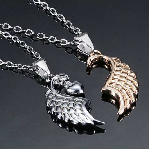2PCS Angel Wings Heart Shape Couple Pendant Necklace Jewelry Gift