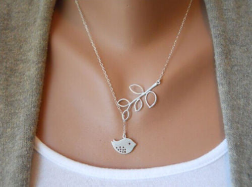 USA Silver Plated Branch Chain Flying Peace Bird Pendant Adjustable Necklace