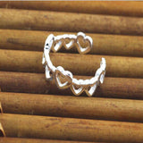 US New Hearts Adjustable Toe Ring Finger Open Ring Silver Plated Fashion Jewelry