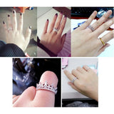 USA New Fashion Princess Women Silver Plated Rhinestone Crown Ring Size 5-8