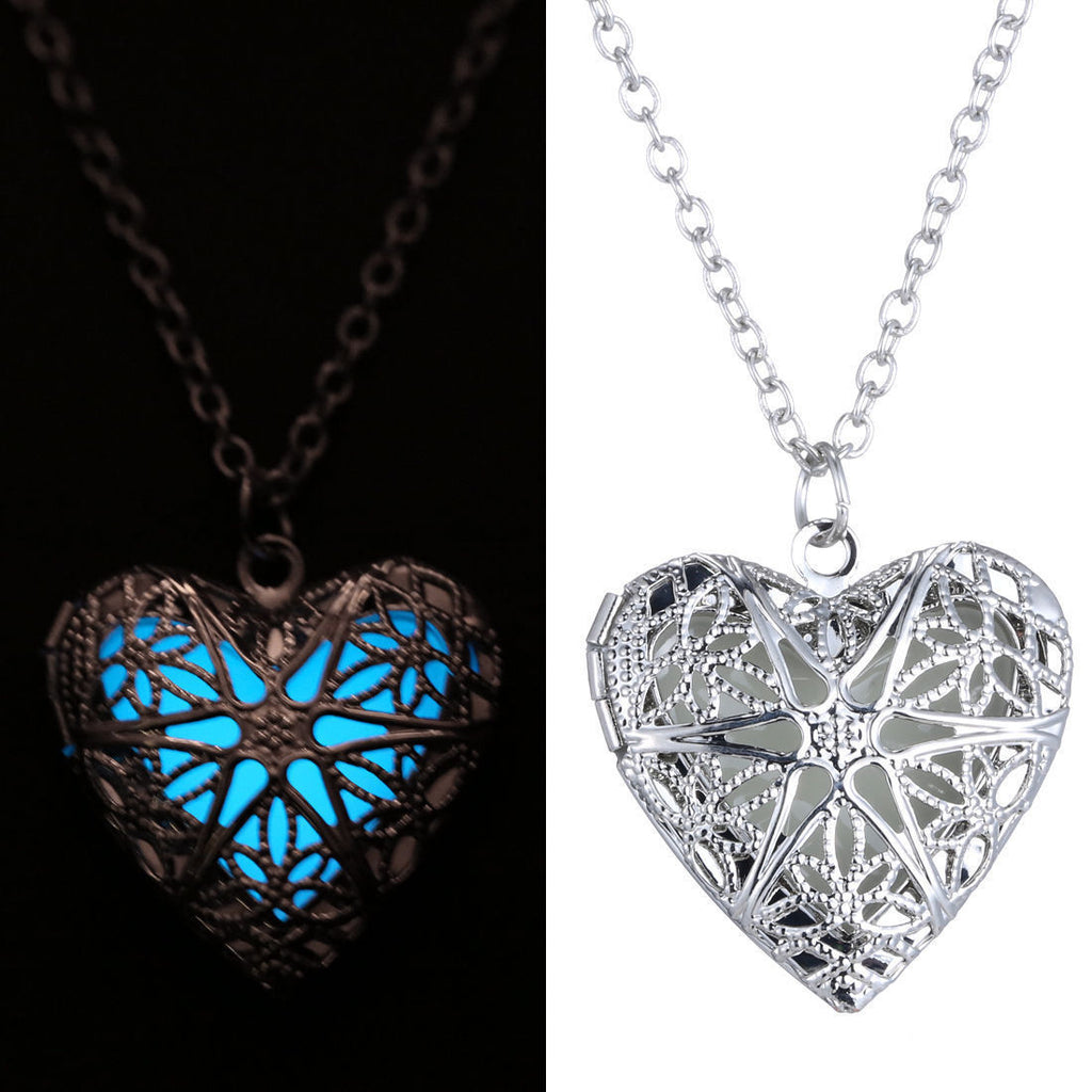 New Hollow Heart Pendant Luminous Glow In The Dark Locket Necklace Jewelry Gift