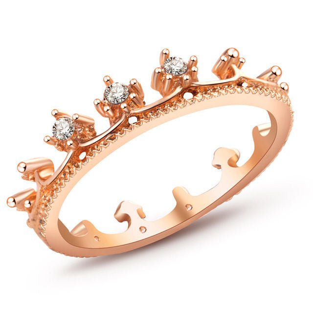 USA New Fashion Elegant Princess Women Rose Gold Plated Rhinestone Tiara Crown Ring