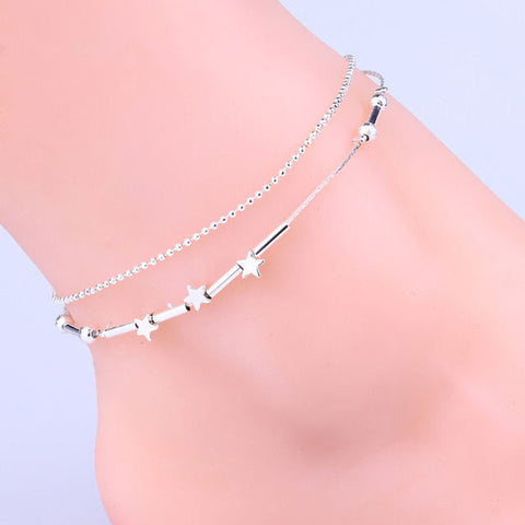 USA Cute Little Star Women Silver Anklet Chain Ankle Bracelet Anklets Jewelry
