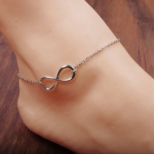 USA Silver Plated Infinity Anklet Chain Women Barefoot Foot Jewelry Anklet Chain