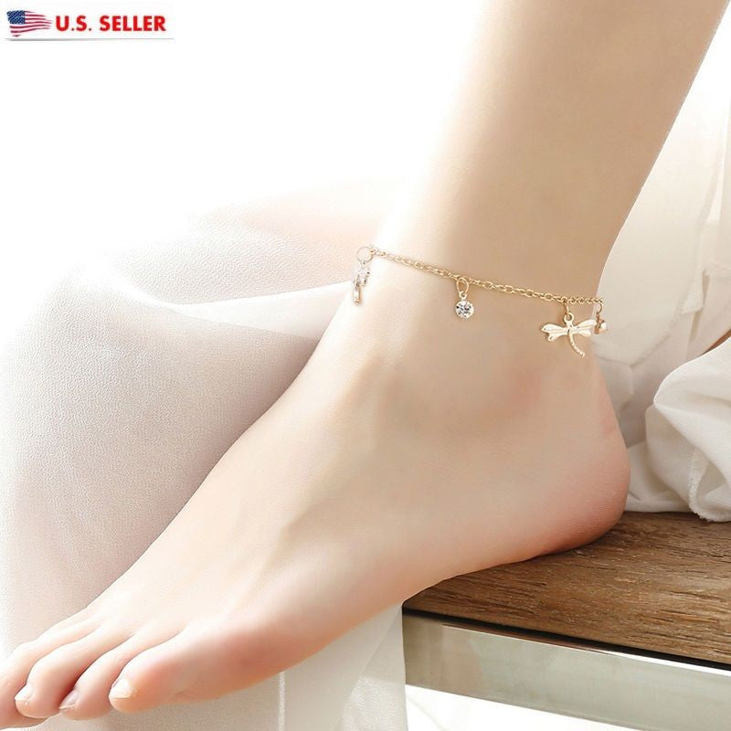 Women 18K Gold Plated Dragonfly Chain Anklet Bracelet Sandal Foot Jewelry