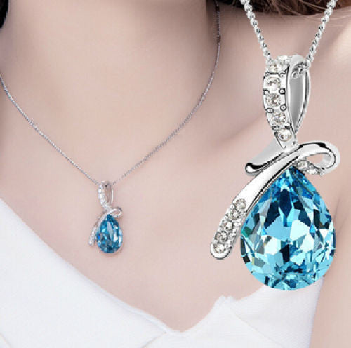 USA Women Silver Plated & Rhinestone Blue Crystal Water Drop Pendant Necklace