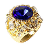 USA Fahion Men's Luxury Big Resin Crown Gold Plated Alloy Ring Jewelry Size 7-10