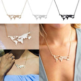 World Map Pendant Necklace Charm Collar Women Fashion Travel Abstract US Jewelry