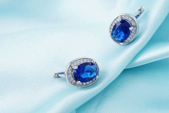 White Gold Platinum Plated Oval Style Blue Zircon Crystal Hoop Wedding Earrings