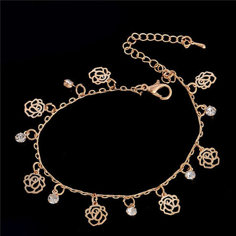 USA Women Gold Plated Roses Anklet Chain Ankle Bracelet Anklets Jewelry