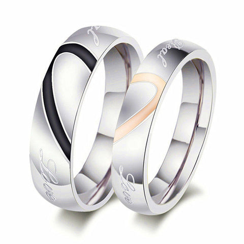 2Pcs Titanium Stainless Steel Couple Rings Wedding Promise Engagement Love Ring