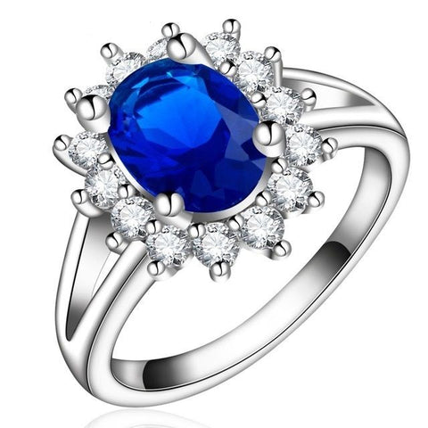 Women Platinum White Gold Plated Oval Style Blue Sapphire Wedding Ring Bands