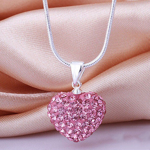 Fashion Women Crystal Pendant Jewelry Heart Silver Plated Necklace Snake Chain