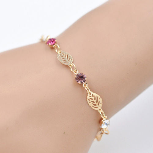 Retro Simple Women Girl Jewelry Rhinestone Leaf Chain Bracelet Bangle Gift
