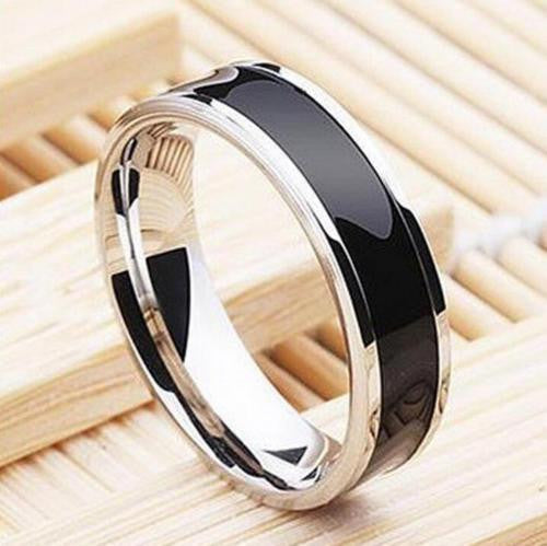 USA 6MM Black Titanium Stainless Steel Promise Engagement Ring Band