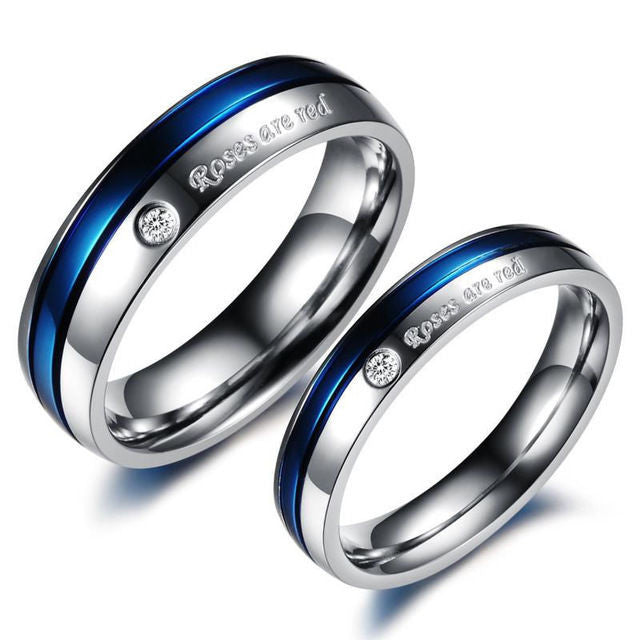 2Pcs Blue & Silver Titanium stainless Steel Couple Promise Engagement Rings Set