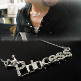 USA Charm Silver Plated Charm Princess Letter Necklace for Women Brand Jewelry