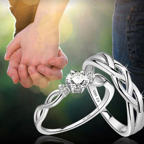 2PCS 925 Sterling Silver Intertwined Rhinestone Adjustable Matching Couple Rings