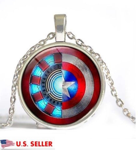 Superhero Captain America Iron Man Shield Glass Cabochon Pendant Chain Necklace