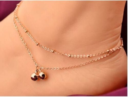 USA Women Jewelry Sexy Beach Ankle Chain Double Layer Gold Bell Chain Anklet