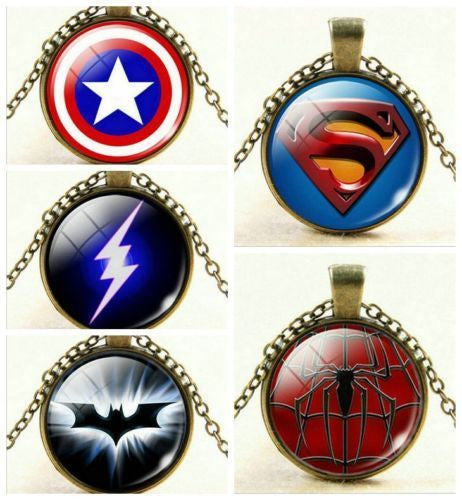 USA Superhero Captain America Spiderman Batman Superman The Flash Chain Necklace