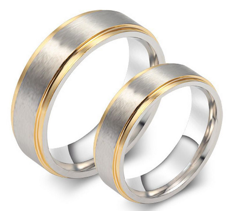 2pcs Gold & Silver Titanium Steel Couple Ring Promise Engagement Matching Rings