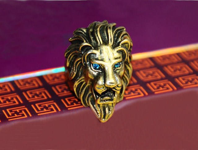 Lion King Head Stainless Steel Vintage Men Ring Band Vintage Retro Bronze Ring