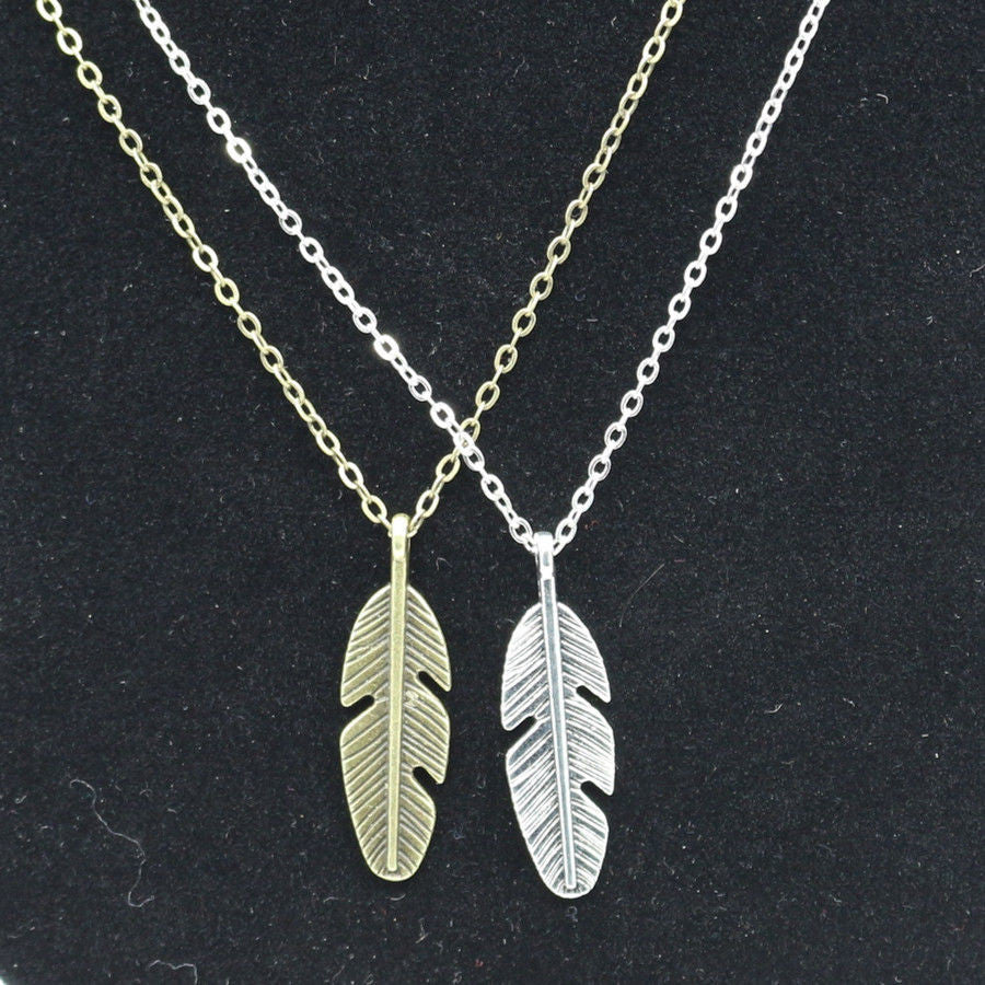 USA 2PCS Men Women Miniature Feather Pendant Couple Necklace Fashion Jewelry