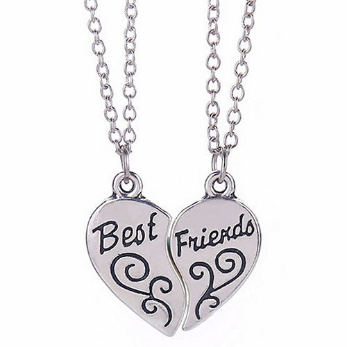 USA 2Pcs New Best Friend Heart Silver Tone Pendants Necklace BFF Friendship