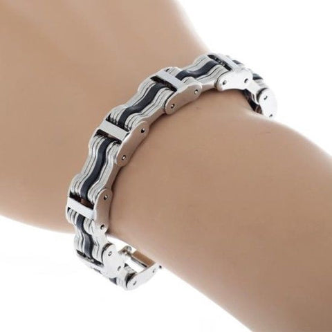 Men Silver Stainless Steel Black Silicone U-shape Link Chain Bracelet Wristband
