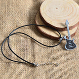 USA Men Guitar Pendant Black Stainless Steel Charm Necklace Fashion Jewelry Gift
