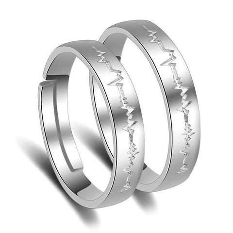2PCS Adjustable Silver Plated Heartbeat Ring Couple Promise Wedding Open Rings