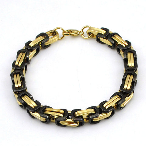 6mm Gold and Black Stainless Steel Byzantine Link Chain Bangle Men's Bracelet