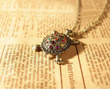 Women Vintage Lovely Bohemia Turtle Necklace Multicolor Crystal Pendant Jewelry
