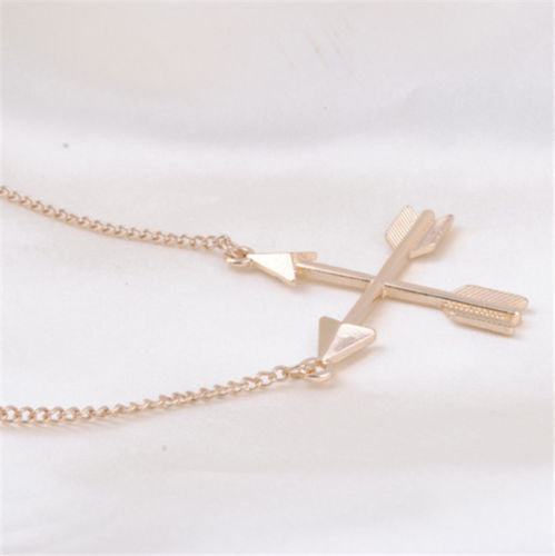 USA Women Fashion Popular Piercing Crossed X Arrow Pendant Rose gold Necklace