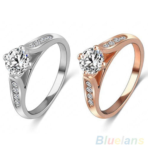 USA Women Bridal Wedding Engagement Zircon Gem Delicate Rose Gold Silver Ring