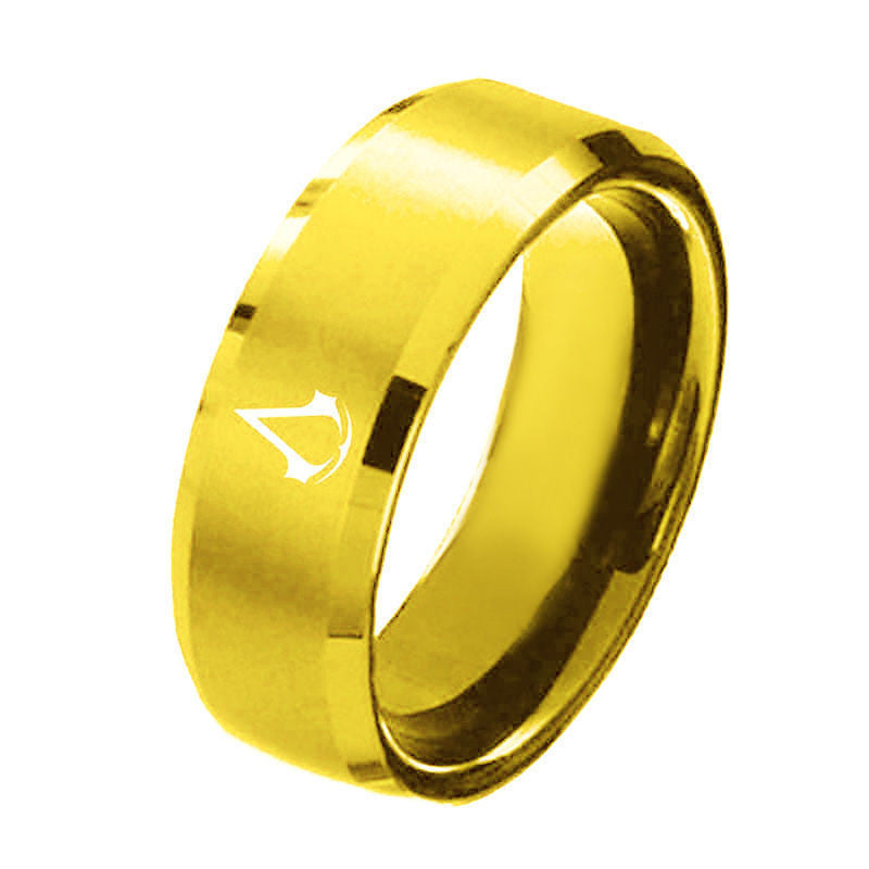 USA 8mm Assassin Creed Gold Titanium Stainless Steel Men Ring Band Size 6-13