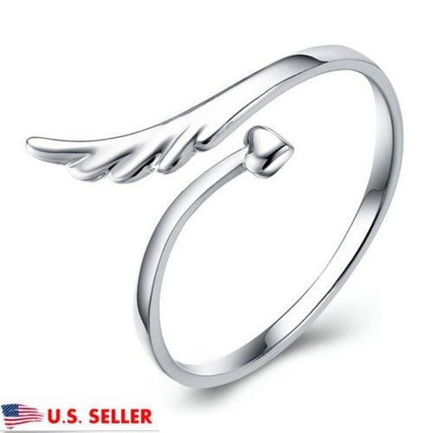 Women 925 Sterling Silver Plated Open Angel Wing Adjustable Band Ring Jewelry